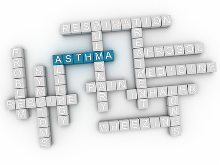 bronchiole: 3d image Asthma word cloud concept