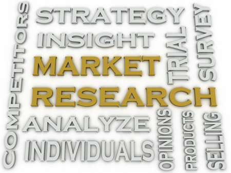 selling service: 3d image Market Research word cloud concept Stock Photo