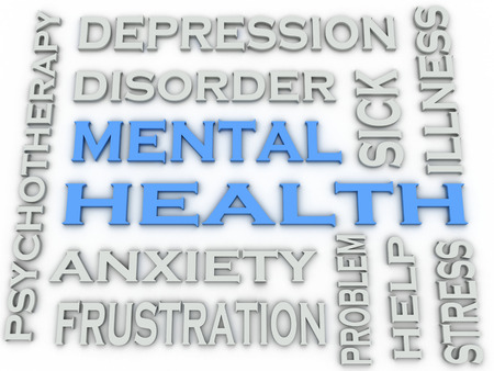 mentally: 3d image Mental health word cloud concept