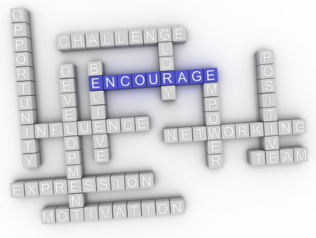 encourage: 3d image Encourage word cloud concept Stock Photo