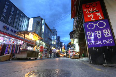 city fish market sign: SEOUL, SOUTH KOREA - MAY 9: Namdaemun Market in Seoul, the Market is on the Seoul list of Asias 10 greatest street food cities for the hotteok in Seoul, South Korea on May 9, 2016.