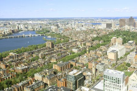 arose: Aerial view of Boston City Skyline in the Boston Harbor where the famous tea party ocurred.  The Boston Tea Party arose from two issues confronting the British Empire in 1765: the financial problems of the British East India Company; and an ongoing disput