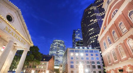 center hall colonial: Faneuil Hall at the dusk. Stock Photo