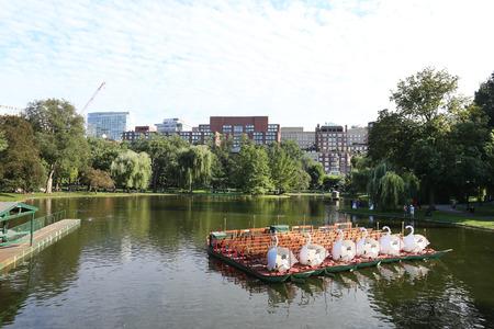 BOSTON SEPT 10: Boston Common public garden lake in Massachusetts USA on Sept. 10, 2016.