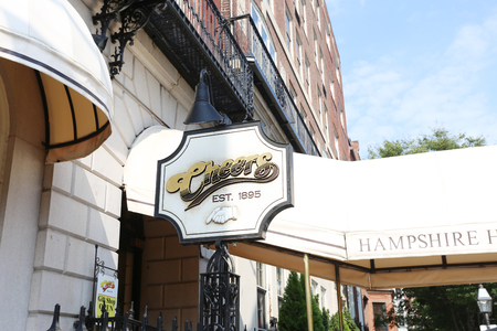 remembered: BOSTON, SEPT. 9: Cheers Restaurant Bar Signage Founded in 1969 as the Bull & Finch Pub, the bar is best remembered internationally as the exterior of the bar seen in the hit NBC sitcom Cheers, which ran between 1982 and 1993 in Boston on Sept 9, 2016.
