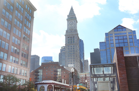 tower house: BOSTON, SEPT. 9: Custom House Tower in downtown Boston, USA in Sept. 9, 2016.  The tower is part of the Custom House District, which was added to the National Register of Historic Places in 1973.