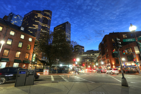 business center: BOSTON SEPT 9, 2016: Boston Massachusetts downtown buildings cityscape in the sunset in Sept. 9 on Boston, Massachusetts, USA. The city has one of the highest costs of living in the United States. Editorial
