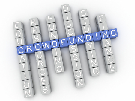 sourcing: 3d image Crowdfunding issues concept word cloud background Stock Photo