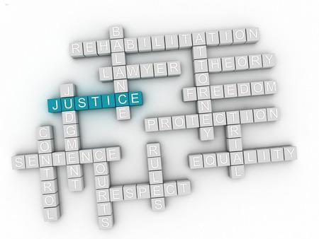 3d Justice word cloud concept