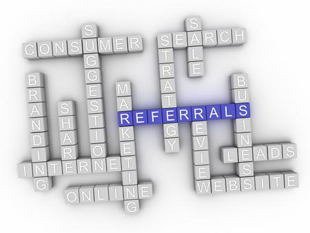 referidos: 3d Referrals word cloud concept Foto de archivo