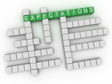 3d  Expectations word cloud concept Stock Photo