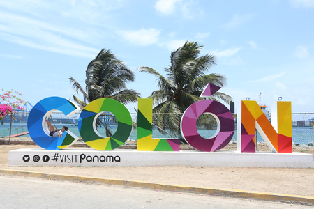 COLON - APR 16, 2017: When the Colon sign was constructed in downtown, it has become one of the most photographed landmarks of the City on Colon, Panama on April 16, 2017
