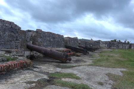 colon panama: San Jeronimo Fort was built in several stages between 1596 and 1779 to protect the transportation of goods from South America to Spain in Portobelo, Panama. Stock Photo