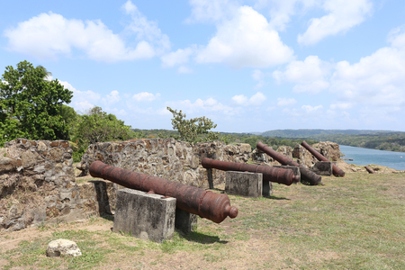 spaniards: PANAMA, APR 14: San Lorenzo fort Spanish ruins. Environmental factors, lack of maintenance and uncontrollable urban developments have cited UNESCO List of World Heritage in Danger, Panama Apr 14, 2017
