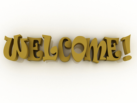 3d Welcome sign with colour. Welcome poster illustration. Stock Photo