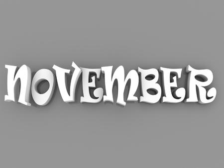november 3d: November sign with colour black and white. 3d paper illustration.