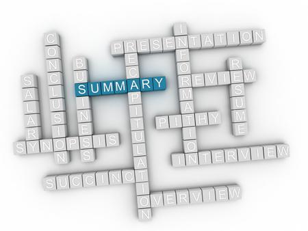 3d Summary Concept word cloud Imagens