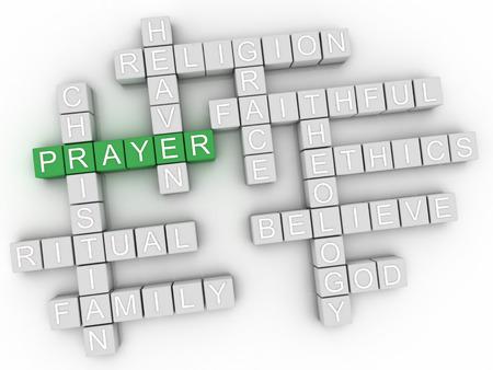 3d Prayer word cloud collage, religion concept background