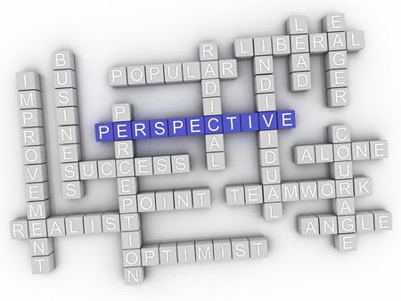 3d imagen Perspective in word cloud Banco de Imagens