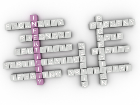 3d infertility issues, pregnancy and family planning concept. Word cloud sign. Stok Fotoğraf