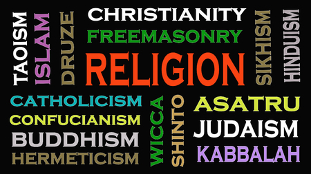 Religion concept word cloud on black  background. 免版税图像