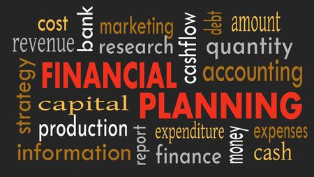 Financial planning, word cloud concept on dark background. Illustration Reklamní fotografie