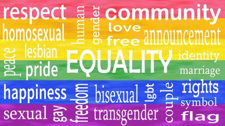 Illustration of Equality word lettering isolated on lgbt flag colors background. Stock Photo