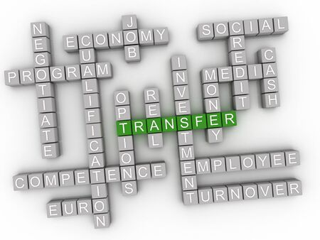 3d Transfer word cloud concept - Illustration