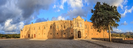 arkady: Panorama of external walls of Arcady monastery, island of Crete, Greece. The panoramic image has been stitched from multiple photos Stock Photo