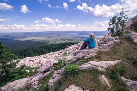 plato: The woman on top of the mountain plato, Zuratkul mountain ridge, South Ural, Russia