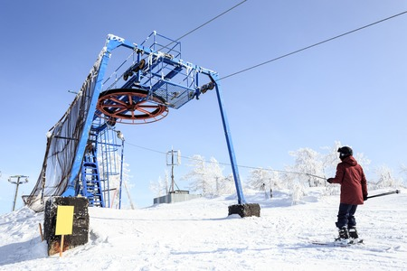 station ski: The drop-of station of the ski lift in the Adjigardak, Russia Stock Photo