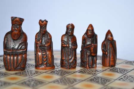 chessmen: Lewis chessmen figures - black Stock Photo