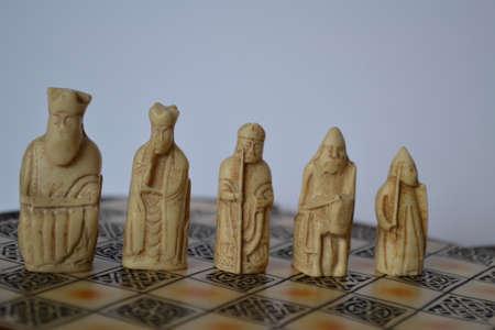chessmen: Lewis chessmen figures - white Stock Photo