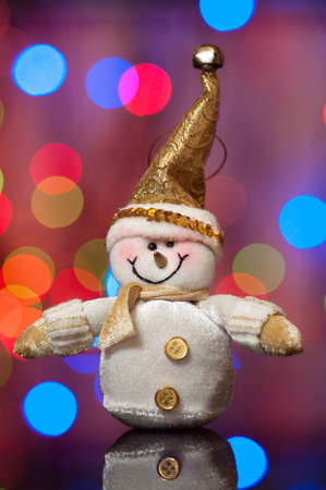 Christmas and new year, Snowman against beautiful a side photo