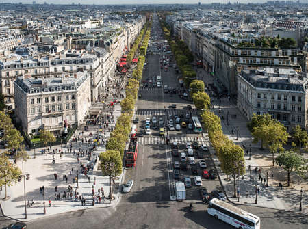 View on Paris from Arc de Triomphe. Avenue Champs elysees in front. Oktober