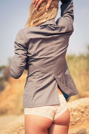back view of fit young woman. summer time Stock Photo