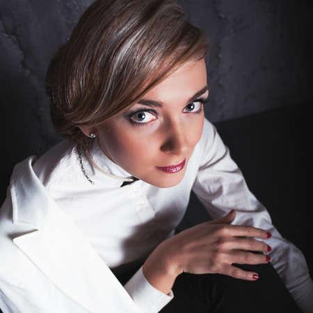 sexy fashion: Portrait of beautiful sexy fashion girl. photoshoot in studio