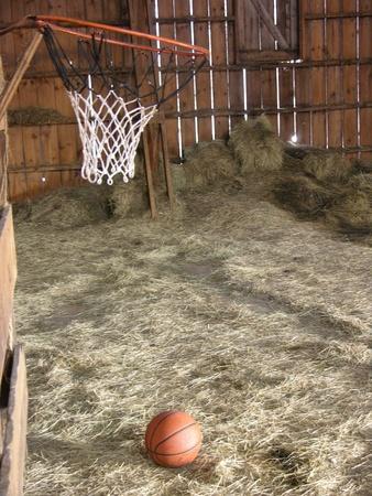 haymow: Basketball Hoop in empty barn Haymow