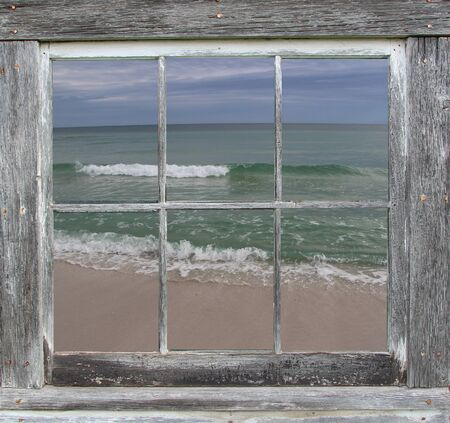 sash: Sash Window Frame with Rolling Ocean View Stock Photo