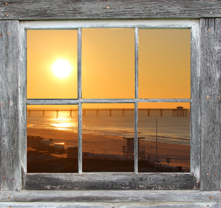 window view: Sash Window Frame with Ocean Sunset View