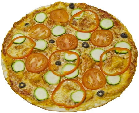Vegetarian pizza isolated on white background photo