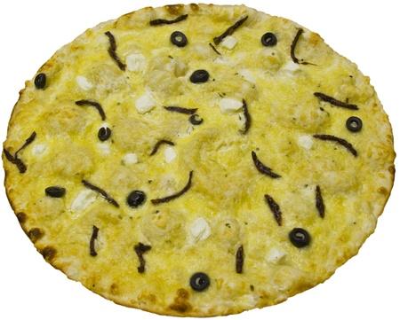 Exotic pizza isolated on white background photo