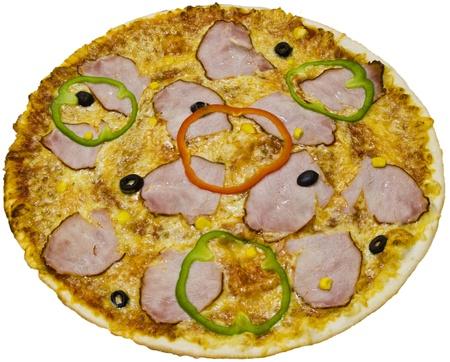 Ham pizza isolated on white background photo
