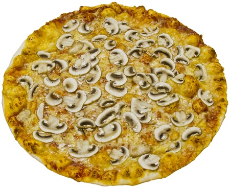 Mushroom pizza isolated on white background photo
