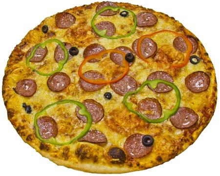 Salami pizza isolated on white background photo