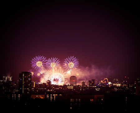 greenwich: Beautiful fireworks above London. New Years Eve, view from Greenwich Point Hill Editorial
