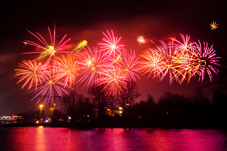 Beautiful fireworks during New Year's Eve celebration in Riga, Latvia