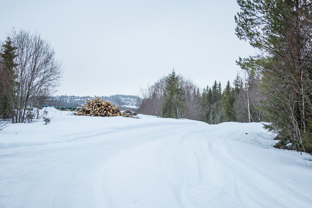 winter road: A beautiful landscape with a white road in the Norwegian winter Stock Photo