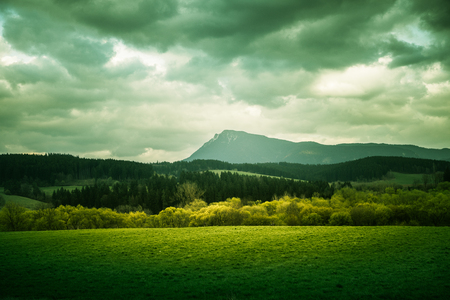 tatra: A beautiful mountain scenery of Tatra mountains. Warm summer haze, artistic, colorful, contrast look. Stock Photo
