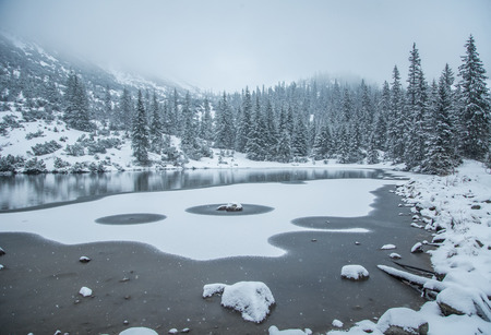 frozen lake: A beautiful winter landscape with a mountain lake in blizzard. Western Tatra mountains in Slovakia Stock Photo